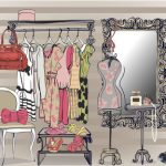 colorful interior vector illustration with women wardrobe