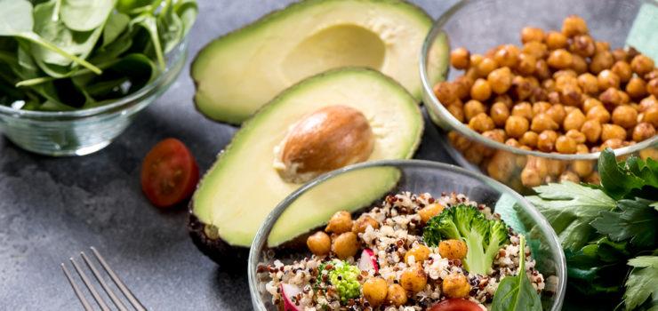 Hier sieht man gesunde vegetarische Gerichte